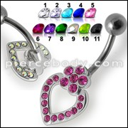Pink Jeweled Heart Silver Dangling SS Banana Bar Navel Ring