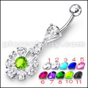 Fancy White Stone Jeweled With Green Stone Centered Dangling Belly Ring
