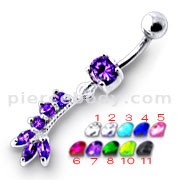 Fancy Purple Jeweled Silver Dangling Curved Bar Belly Ring