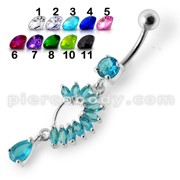 Fancy Curved Design Multi Jeweled Dangling navel Ring Body Piercing Jewelry