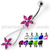Fancy Jeweled Two Flower Silver Dangling SS Bar Navel Ring