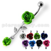 Double Rose Jeweled Dangling Belly Ring