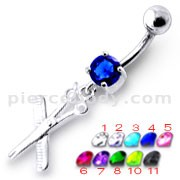 Jeweled Scissor Dangling Belly Ring