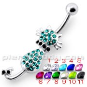Jeweled Cat Dangling Navel Belly Ring