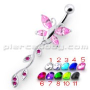 Pink Jeweled Butterfly Silver Dangling Belly Ring With SS Banana Bar