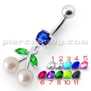 Fancy Mix Jeweled PEARL Dangling With Curved Navel Ring