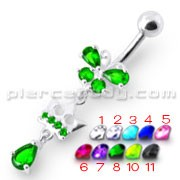 Fancy Green Stone Jeweled Crown Dangling With SS Bar Navel Ring