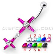 Fancy Pink Multi Cross Jeweled Silver Dangling With SS Bar Belly Ring