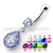Silver Fancy Multi Jeweled Dangling Design Ss Bar Navel Body  Ring