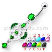 Fancy Design Green Jeweled Dangling Banana Belly Ring