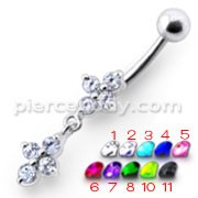 Fancy White Stone Studded Dangling Body Jewelry Navel Ring