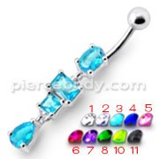 Fancy Blue Stone Studded Dangling Body Jewelry Curved Belly Ring