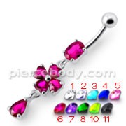 Silver Fancy Pink Stone Flower Dangling Bdy Jewelry SS Bar Belly Ring