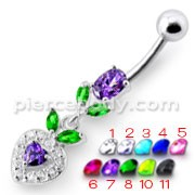 Fancy Multi Stone Jeweled With Purple Heart Dangling Navel Ring