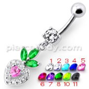 Fancy White Jeweled With Pink Stone Heart Dangling Belly Ring