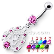 Fancy Pink Stone Jeweled Silver FLAME Dangling Banana Bar Navel Ring