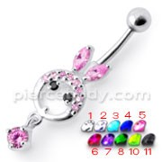 Silver Pink DOLL Jeweled Dangling Curved Bar Belly Ring
