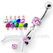 Fancy Pink Jeweled Owl Silver Dangling Belly Ring