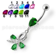 Silver Green Pear Jeweled Dangling SS Belly Ring Body Jewelry