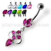Fancy Jeweled Dangling Body Piercing Banana Bar Navel Ring
