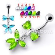 Fancy Jeweled Butterfly Dangling Surgical Grade Steel Belly Ring