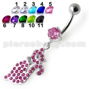 Fancy Pink Jeweled Kitty Dangling Belly Ring