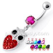Jeweled Owl Belly Ring