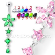 Pink Stone Studded Jeweled Flower Navel Ring