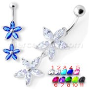 Jeweled Multi Flower Silver Dangling Belly Button Ring