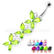 Top Quality Stone Fancy Jeweled Dangling Belly Ring