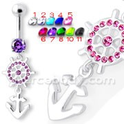 Ship Helm with Anchor Navel Belly Ring