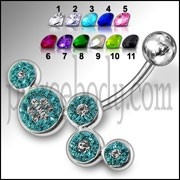 Fancy Multi Jeweled Multi O Silver SS Navel Belly Ring