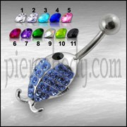 Fancy Jeweled Fish Silver Belly Ring
