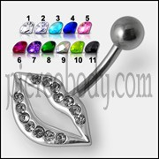 Fancy CZ Jeweled LIP Logo in Silver With SS Bar Navel Ring