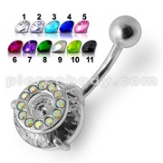 14G Sterling Silver Fancy Jeweled SS Banana Bar Navel Ring