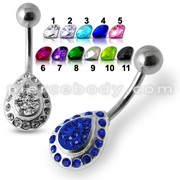 Silver Fancy CZ Jeweled Blue Heart With SS Banana Bar  Belly Ring Body Jewelry