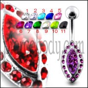 Silver Fancy Jeweled With 316L SS Bar Navel Belly  Ring