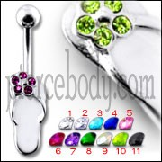 "Fancy Jeweled Silver ""Slipper "" Design SS Bar Belly Ring"