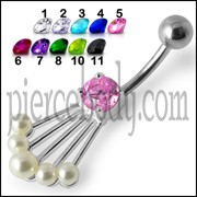 Fancy Jeweled Silver Belly Banana Bar Navel Ring