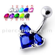 925 Sterling Silver Fancy Jeweled 316L Banana Bar  Belly Ring