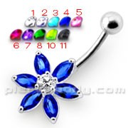 Flower Jeweled Silver Belly Ring