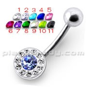 Fancy Jeweled Silver Banana Bar Belly Button Ring