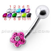 14 Gauge Fancy Jeweled Silver Navel Ring
