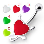 Rexine Devil heart Silver Belly Ring