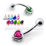 Jeweled Heart Silver Belly Ring