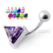 Triangle Gem Silver Belly Ring