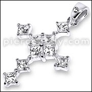 925 Sterling Silver Jeweled Cross Pendant PBPJ088
