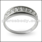 Jeweled Fashion Silver Ring Body Jewelry PBRJ023