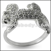 Jeweled Lizard Fashion Silver Ring