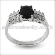 CZ Solitaire Studded Jeweled Fashion Silver Ring